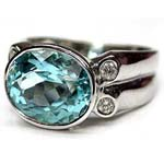 Aquamarine ring in 18k white gold